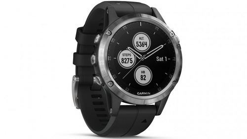 GARMIN FENIX 5S Plus -(010-01987-21) silver ura (black band)