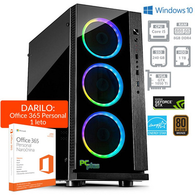 PCPLUS Gamer i5-8400 8GB 240GB SSD + 1TB GTX1050 4GB Windows 10 Home namizni gaming računalnik + darilo: 1 leto Office 365 Personal