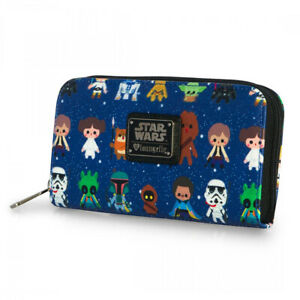 LOUNGEFLY STAR WARS CHAR CUTESY AOP ZIP AROUND WALLET