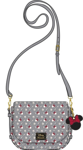 LOUNGEFLY DISNEY MINNIE SM GRAY AOP XBODY BAG