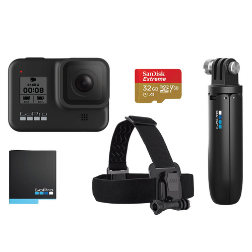 GOPRO HERO 8 BLACK kamera Headstrap + baterija + SD kartica 32GB + Shorty držalo