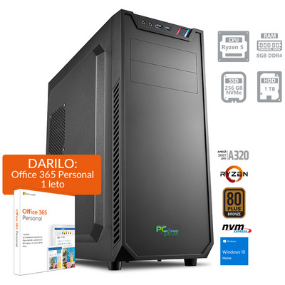 PCPLUS Magic AMD Ryzen 5 3400G 8GB 256GB NVMe SSD 1TB HDD Windows 10 Home + darilo: 1 leto Office 365 Personal namizni računalnik