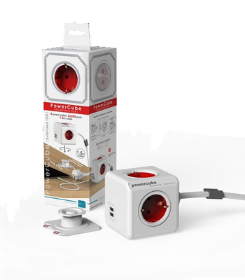 Allocacoc PowerCube EXT. USB, rdeča
