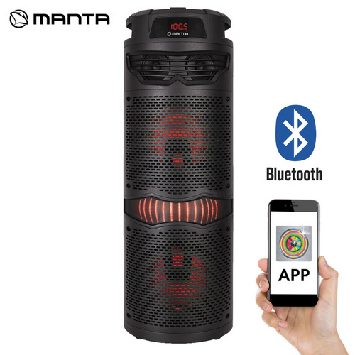 MANTA SPK5029, Karaoke zvočni sistem, vgrajena baterija, Bluetooth 5.0, USB/MP3/WAV/WMA, FM Radio, Disco LED lučke, 5.000W, Aplikacija Android+IOS, power bank
