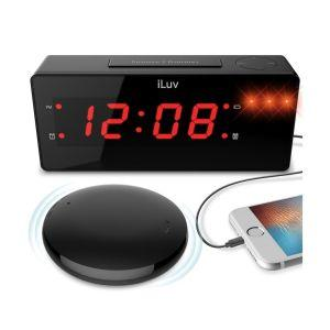 iLuv Jumbo LED Alarm Clock with Wireless Rechargeable Bed Shaker - Black vibracijska budilka